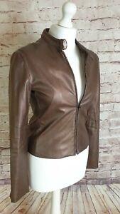 Mango MNG Bronze Ladies Biker Style Jacket Faux Leather Size M