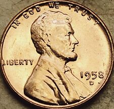 """1958 -D Lincoln Wheat Cent Penny """"GEM RED Brilliant Uncirculated"""". FREE SHIPPING"""