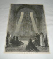 1879 magazine engraving ~ INTERIOR OF A CHURCH AT ILLASCAS Spain