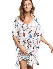 Vestido de playa mujer Poncho Con CON POMPONES BLANCO FLORES TRANSPARENTE KIMONO