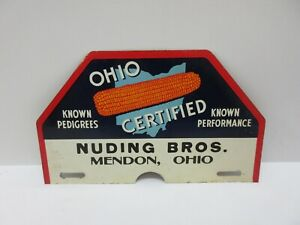 Vintage Original Ohio Certified Seed Corn License Plate Topper Attachment