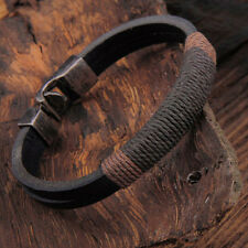 Men's Black Brown Vintage Hemp Leather Wrap Wristband Bracelet Bangle Jewelry
