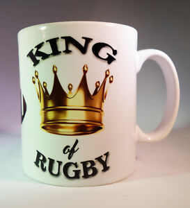 "RUGBY ""KING OF RUGBY"" WHITE GLAZED CERAMIC 11OZ MUG.RUGBY GIFT/PRESENT"