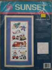 NEW no count cross stitch kit.  THINGS THAT GO 14 count Aida, floss, pattern