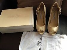 *CHAMPAGNE SHOES PEEP TOE HEELS NUDE PLATFORMS JEWELLED WEDDING LABEL JIMMY CHOO