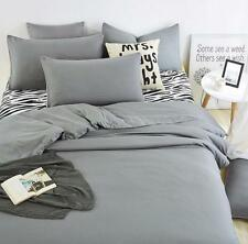Solid Color Duvet Cover Set Quilt Cover Pillowcase Cotton Bedding Set Twin Queen