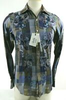 Robert Graham NWT $398 Bill Scott Embroidered Men's Dress Shirt Size XS Blue Tan