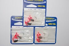 3 packs blakemore road runner 2 per 1/16oz flo red white curly tail crappie jig