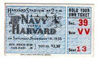 1936 (Nov.14) College Football ticket stub Harvard vs. Navy @ Harvard Stadium