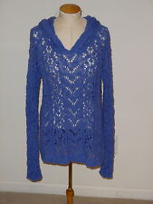 YELLOW BIRD ANTHROPOLOGIE BLUE LONG SLEEVE HOODY KNIT PULLOVER SWEATER SIZE S