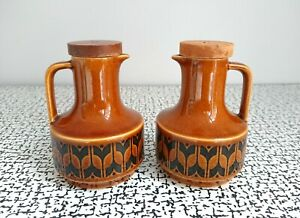 60s 70s Vintage Retro Hornsea Brown Heirloom Oil Vinegar Bottles Pourers Jugs