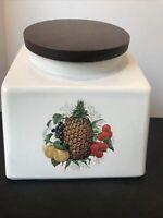 Pristine Vintage MCM Hyalan White Ceramic Canister Wood Lid Fruit Motif 199-S