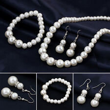 Crystal Beads Pearls Necklace Charm Bracelet Earrings Set Party Wedding Fashion