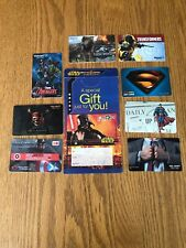 9 Gift Card Lot STAR WARS SUPERMAN AVENGERS JURASSIC WORLD TRANSFORMERS PIRATES