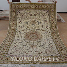 Yilong 6'x9' Hand Knotted Wool Silk Area Rugs Beige Handwork Classic Carpet 1457
