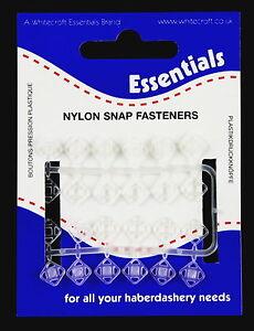 12 CLEAR NYLON SNAP FASTENERS/PRESS STUDS-6MM -WHITECROFT ESSENTIALS 745551