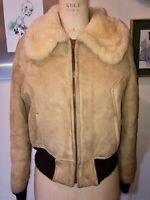 VTG 70'S MAKRAY BOHO HIPPIE SHEARLING&SUEDE ZIP CROP JACKET COAT WIDE COLLAR*S/M