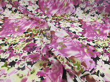 "5 Metres Pink & Cream ""Blossoms"" Floral Printed Summer Dress fabric."