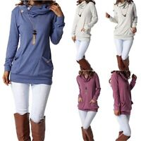 Womens Long Sleeve Button Cowl Neck Casual Slim Tunic Tops Pockets Warm Blouses