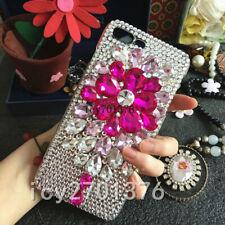 3D Luxury Bling Crystal Diamond flower Rhinestone soft gel Phone Case Cover #O