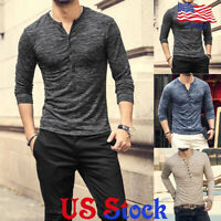 Fashion T-Shirt Tee Tops Slim Fit Long Sleeve Men's Casual Blouse Henley Muscle