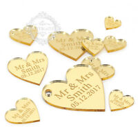 Personalized Engraved Mr & Mrs Love Heart Wedding Party Table Centerpieces Decor
