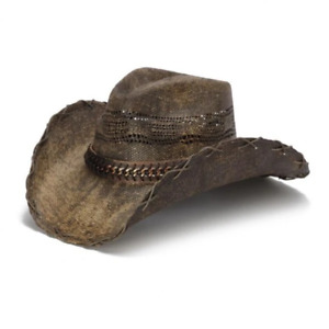 Stampede Men's Straw Cowboy Hat - Brown Chain
