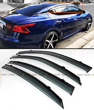 FOR 2016-2020 NISSAN MAXIMA VIP CLIP-ON SMOKE TINTED WINDOW VISOR W/ BLACK TRIM