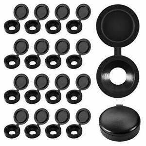 Plastic Hinged Screw Cover Caps Fold Screw Snap Covers Washer Flip Tops Black