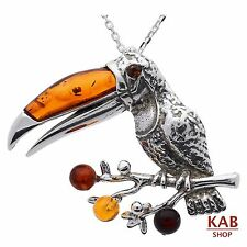BALTIC AMBER STERLING SILVER 925 BEAUTY PENDANT - BIRD TOUCAN, KAB-205
