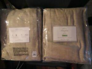 "POTTERY BARN Emery Linen/Cotton Grommet Curtains~50 x 96""~Oatmeal~NIP"
