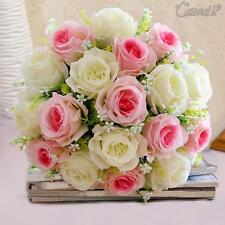 18 Heads Silk Rose Artificial Flowers Rose Wedding Bouquet DIY Home Party Décor