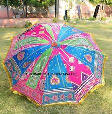 Indian-Silk-Garden Parasol-Big Umbrella-Outdoor-Patios-Embroidery-Rajasthani