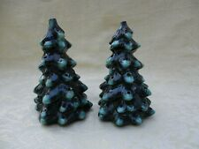 """Pair of Small 6"""" Ceramic Green Christmas Trees Ready to Light"""