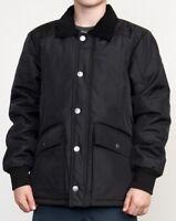 RVCA Ruffians Black Zip Front Winter Coat Jacket Boys S 8 M 10/12 L 14/16 XL 20