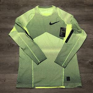 NWT Mens Nike Pro Hyperwarm Fitted Long Sleeve Training Shirt Yellow Black Sz L