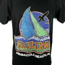 Pensacola Beach Sailing T Shirt Vintage 80s Yacht Mosaic Made In Usa Size Medium