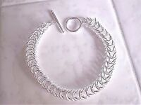 womens 8 in circle link boxed bangle bracelet 925 sterling silver toggle closure