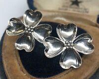 Marked Sterling Sterling Silver Southwestern Dogwood Flower Screw Back Earrings