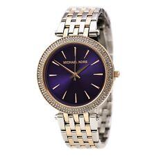 New Michael Kors Darci Purple Silver RoseGold Stainless MK3353 Women Glitz Watch