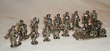 14 Dollhouse Train Miniature Christmas Figurines Metal Santa Carriage Horse Kids