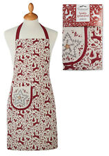 Ladies Festive Christmas Tree Reindeer Cotton Apron Womens Xmas By Cooksmart NEW