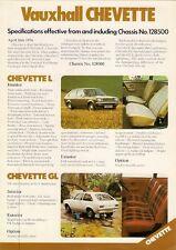 Vauxhall Chevette 3dr Specification Mid 1976 UK Market Leaflet Brochure L GL GLS