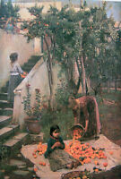 Fine Oil painting J. W. Waterhouse - The Orange Gatherers mother with child 36""