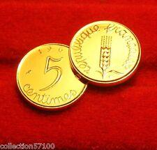 OR   FIN   PL 24 K  999%   5   CENTIMES   EPI   FRANC 1964  RARE