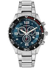 BRAND NEW CITIZEN ECO-DRIVE AT2121-50L CHRONOGRAPH STAINLESS STEEL MEN'S WATCH