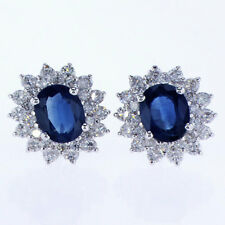 4.00 CT Diamond and Sapphire Earrings 18K White Gold