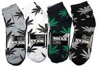 6-12 Pairs Men Women Cotton Ankle Quarter Skateboard Socks Leaf Weed Marijuana