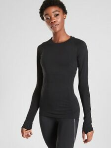Athleta Black Momentum Top Large NEW! Fitness Gym Running