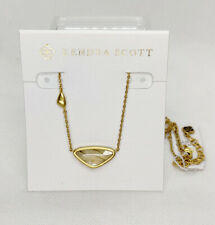 New Kendra Scott Margot Pendant Necklace In White Abalone / Vintage Gold